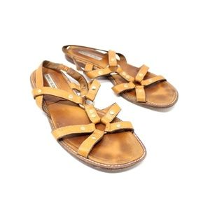 Manolo Blahnik Tan Flat Strappy Gladiator Sandals